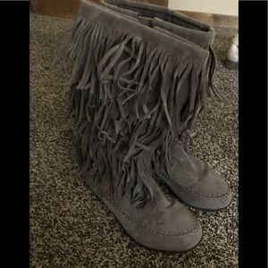 Fringe wide calf boots size 9